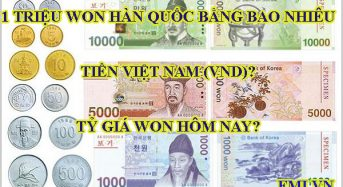 1 triệu Won Hàn Quốc bằng bao nhiêu tiền Việt Nam (VND)? Tỷ giá Won hôm nay.