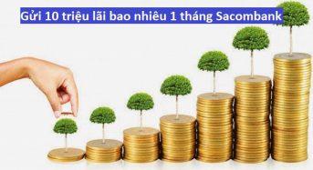 Gửi 10 triệu lãi bao nhiêu 1 tháng Sacombank