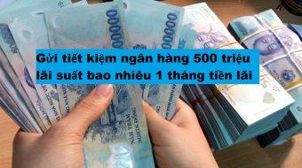 Gửi tiết kiệm ngân hàng 500 triệu lãi suất bao nhiêu 1 tháng tiền lãi